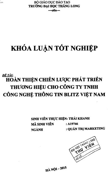 Hoàn thiện chiến lược phát triển thương hiệu cho Công ty TNHH Công nghệ thông tin Blitz Việt Nam