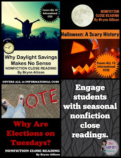 Incorporate the holidays in your secondary classroom while increasing your use of nonfiction with seasonal nonfiction close readings.