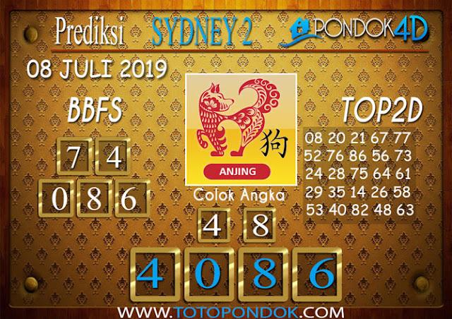 Prediksi Togel SYDNEY 2 PONDOK4D 08 JULI 2019