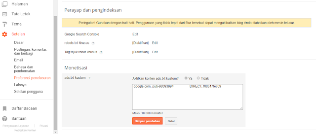 mengatasi publisher ID missing from ads.txt