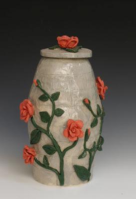 Rose Urn, flower urn, rose vine, roses