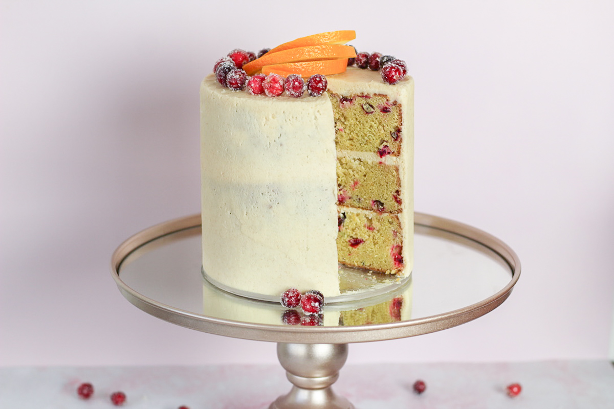 Orange Cranberry Cake with Cinnamon Cream Cheese Frosting