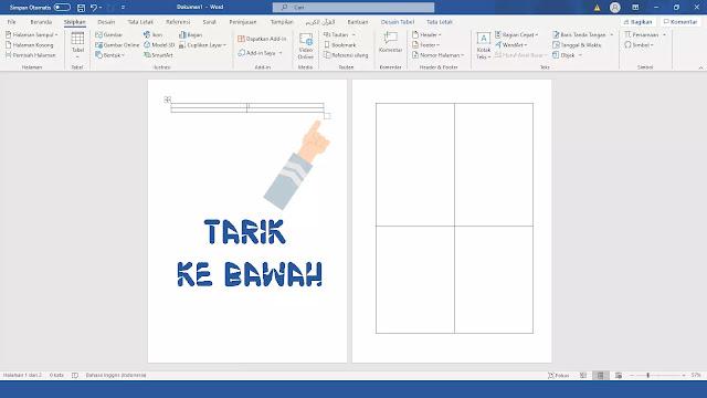 membagi 1 lembar menjadi 4 bagian di Microsoft Word 2007