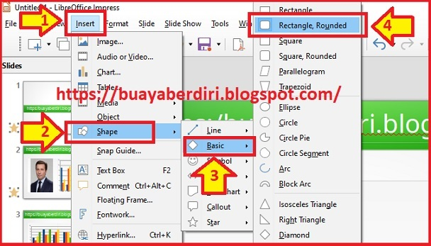 Cara membuat Rectangle Rounded di Libre Office Impress