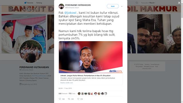 Ferdinand: Pak Jokowi, Kami ini Bukan Kufur Nikmat, Namun..