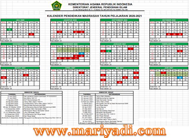 SK Dirjen Pendidikan Islam tentang Kalender Pendidikan Madrasah Tahun Pelajaran 2020/2021