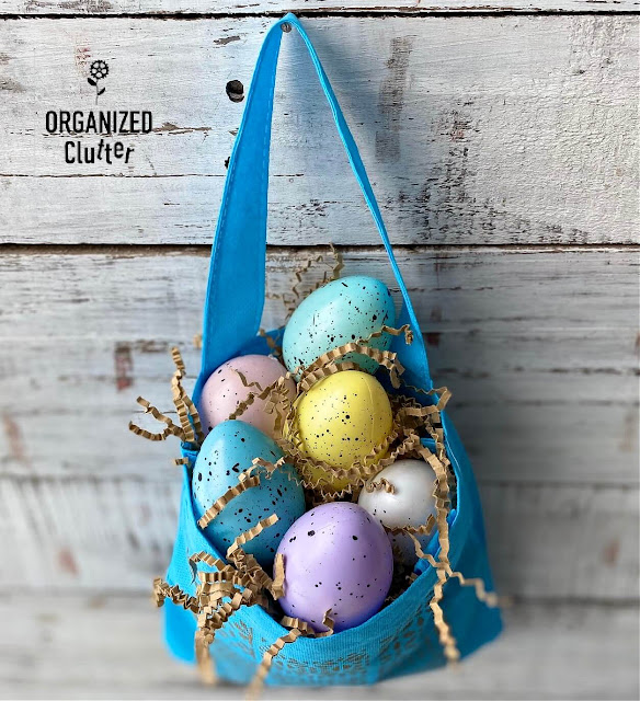 Stenciled Dollar Tree Craft Tote Decorated For Easter