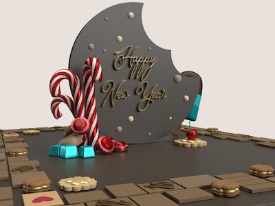 3D New year bitten cookie