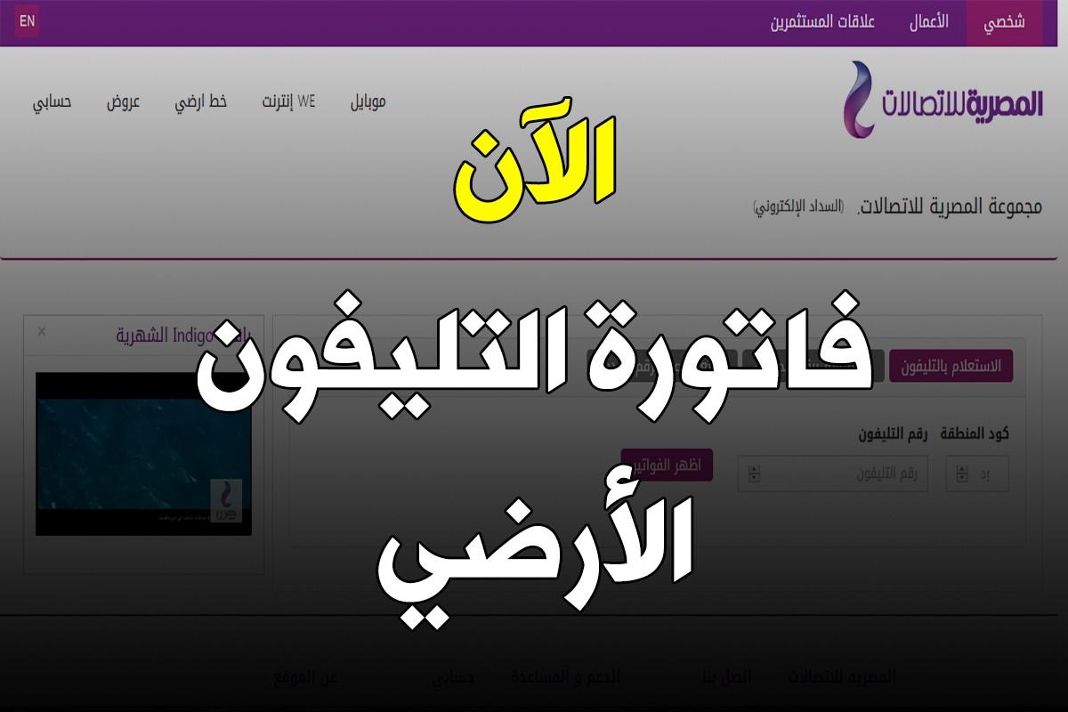 فاتورة التليفون الارضي شهر اكتوبر 2019 الشركة المصرية للإتصالات
