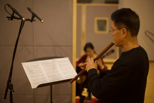 Xuefei Yang with Xiao player Weiliang Zhang during recording session at NCPA