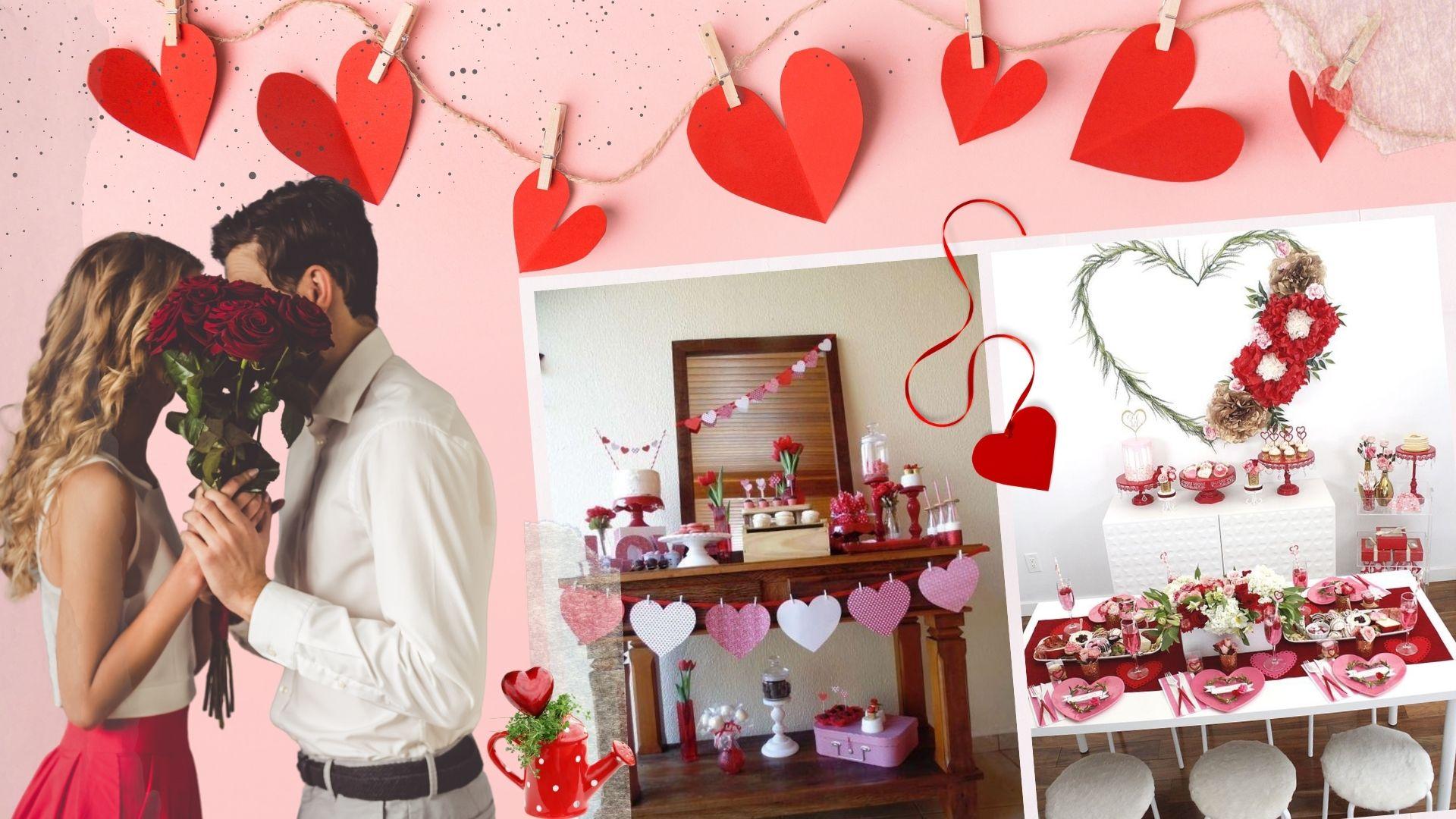 Decoración de San Valentín con corazones