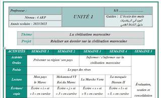 التوازيع المرحلية فرنسية للمستوى 4 الرابع ابتدائي