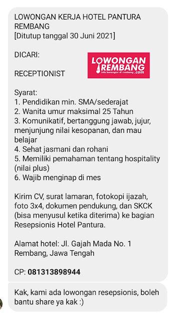 lowongan-kerja-receptionist-hotel-pantura-rembang