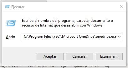 ejecutar OneDrive