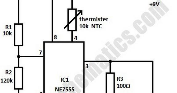 temperature control circuit using 555 ic temperature sensor circuit