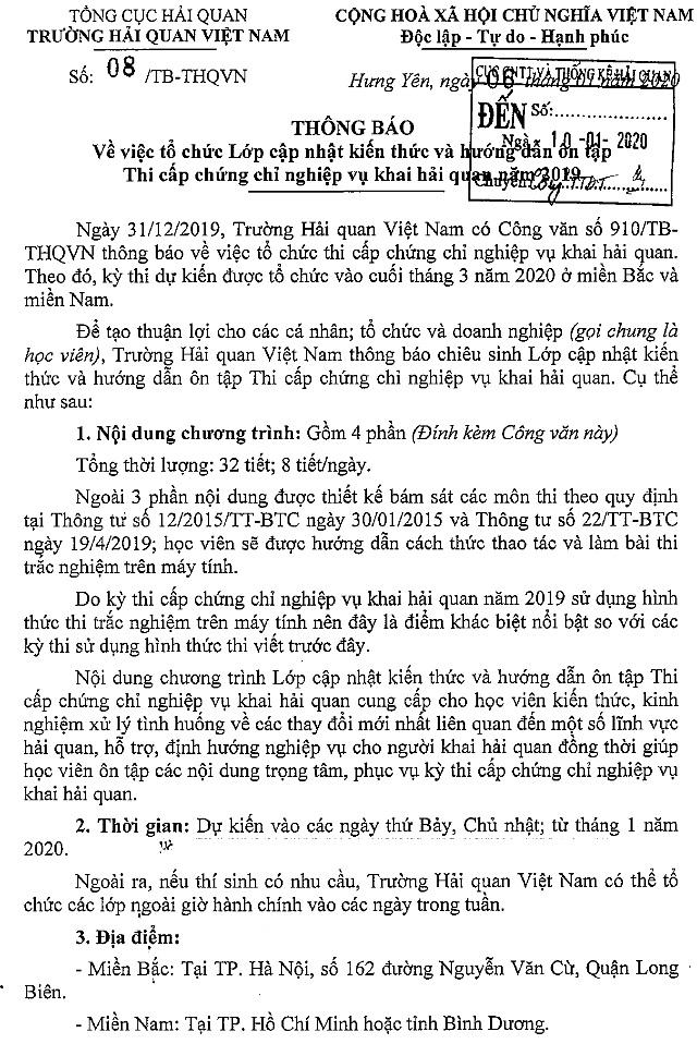Thông báo số 08/TB-HQVN ngày 06/01/2020
