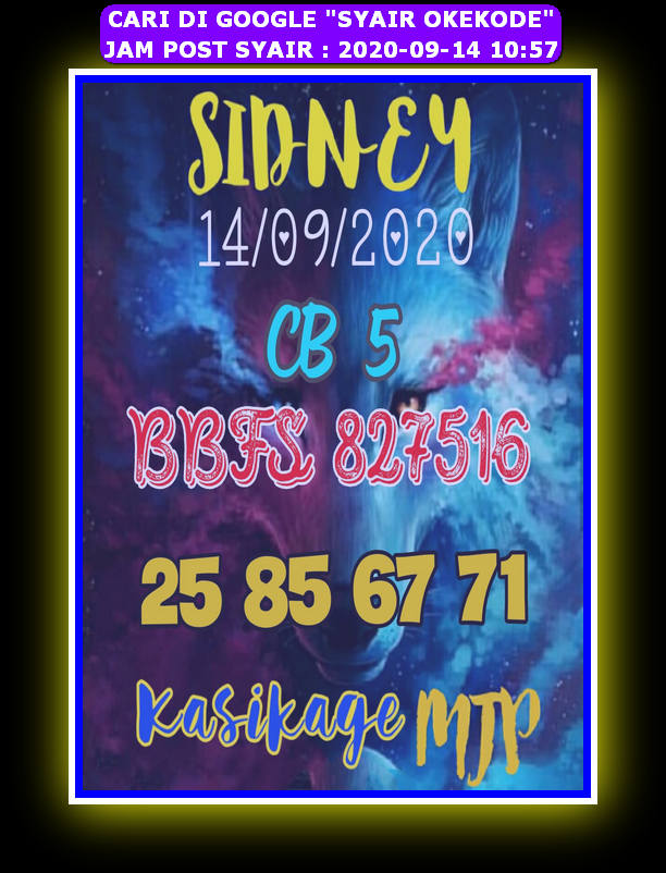 Kode syair Sydney Senin 14 September 2020 67