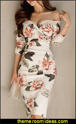 Off Shoulder White Printing Women's Bodycon Dress womens dresses womens fashion clothing