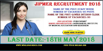 JIPMER Nursing Recruitment 2018 Latest Staff Nurse Jobs