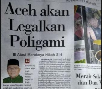 Jihar News, Melalui Raqan Keluarga, Aceh Akan Legalkan poligami