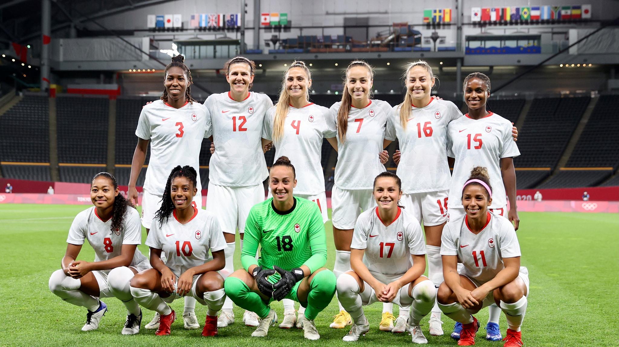 Formación de selección femenina de Canadá ante Chile, Juegos Olímpicos de Tokio 2020, 24 de julio de 2021