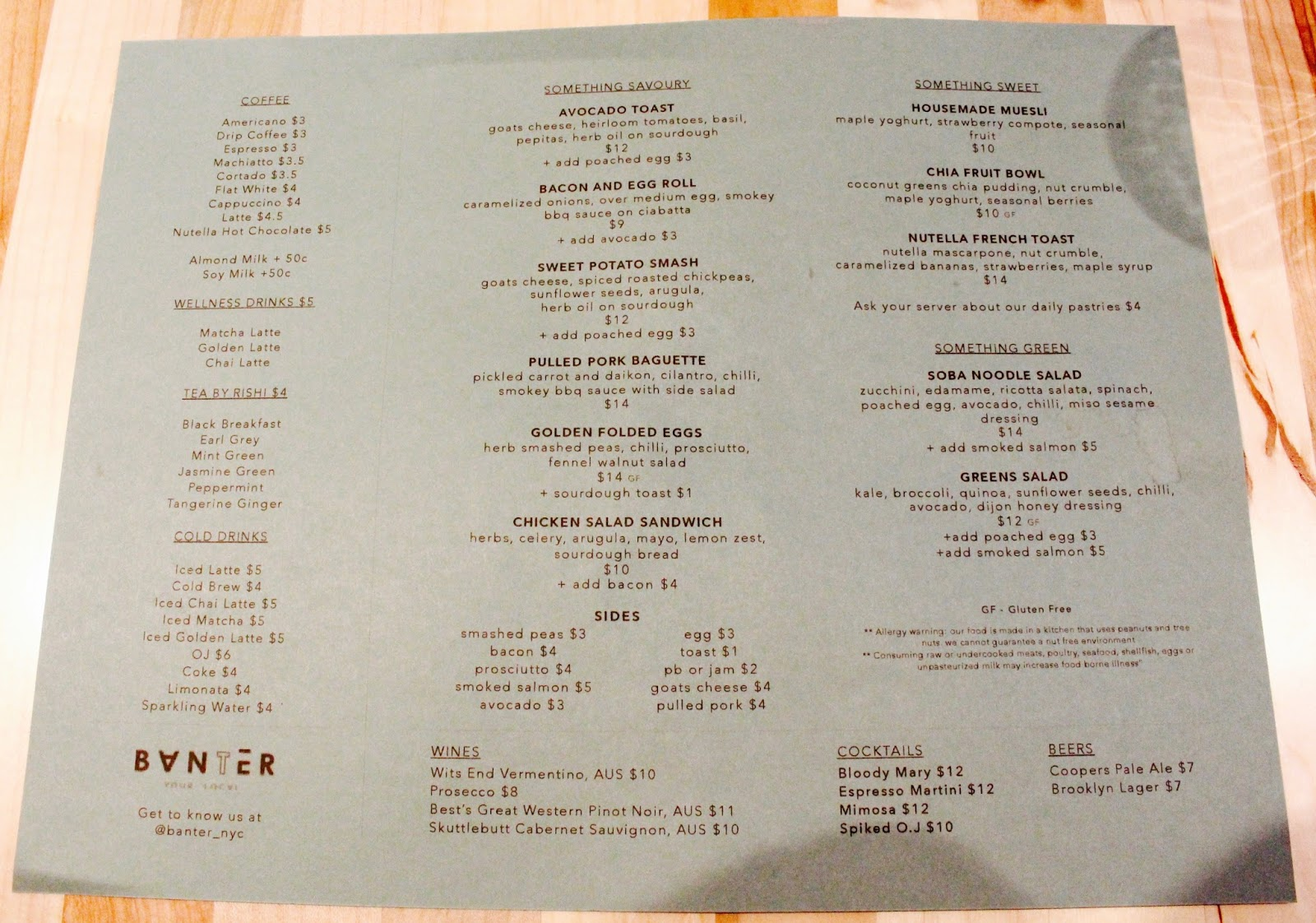 Banter Aussie Brunch Menu NYC | New York Sullivan Street