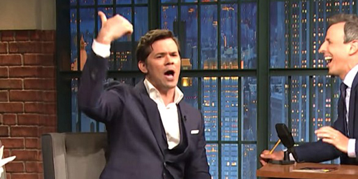 """Andrew Rannells explains to Seth Meyers why he told RuPaul's Drag Race contestant Monet X Change to 'sashay away!"""""""