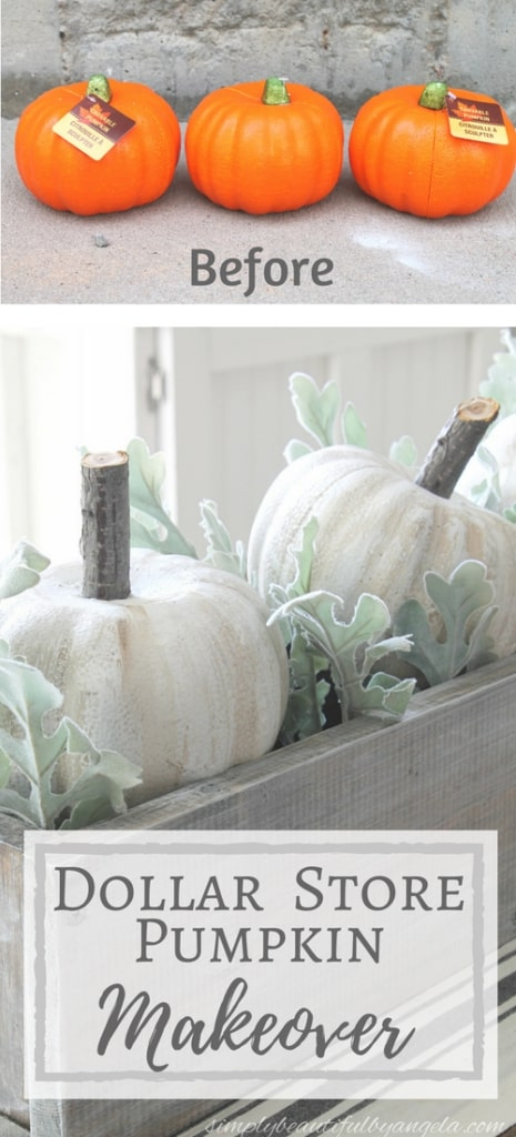 Dollar store pumpkin makover into rustic fall pumpkins