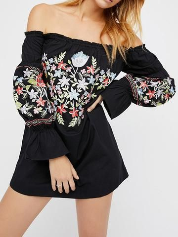 Off-shoulder-Long-sleeve-printed-Dress