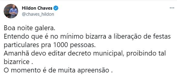 """Prefeito Hildon chama decreto do Governo de """"bizarro"""" e anuncia novo decreto municipal"""