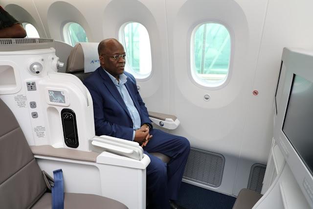 RAIS DKT. JOHN POMBE MAGUFULI ASAFIRI KWA NDEGE YA BOEING 787-8 DREAM LINER AKIELEKEA MWANZA