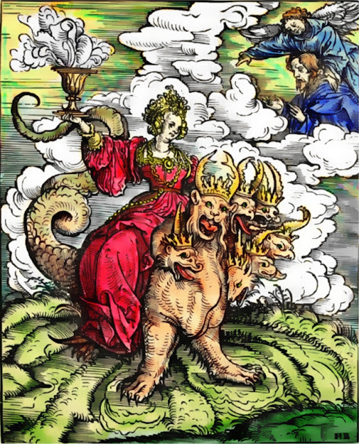 The Whore of Babylon riding the seven-headed Beast