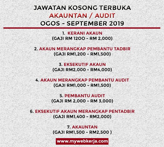 Dibuka Senarai Jawatan Kosong Akauntan Audit Ambilan Ogos September 2019 Mywebkerja