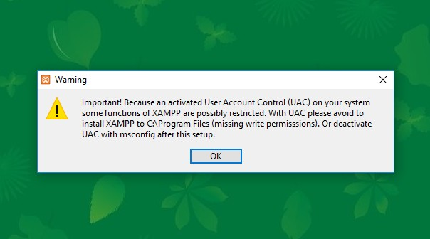 user account control xampp