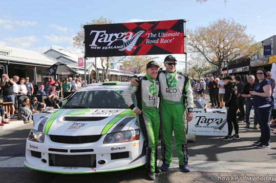 L-R: Glenn Inkster, Pukekohe, Spencer Winn, Howick, winner, with their Mitsubishi Evo 8 on the Targa Rally finish line in Napier Rd, Havelock North.  photograph