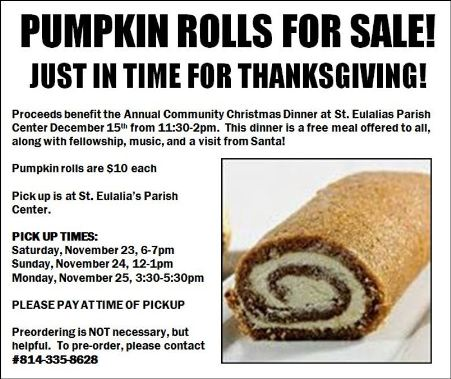 Pumpkin Roll Fundraiser, St. Eulalia