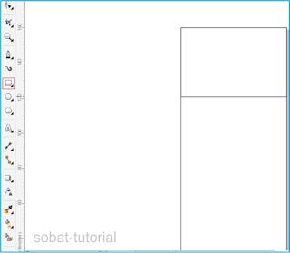 Untuk membuat backround dan objek desain bagian atas silakan sobat pilih Rectangle Tools yang berada di sebelah kiri