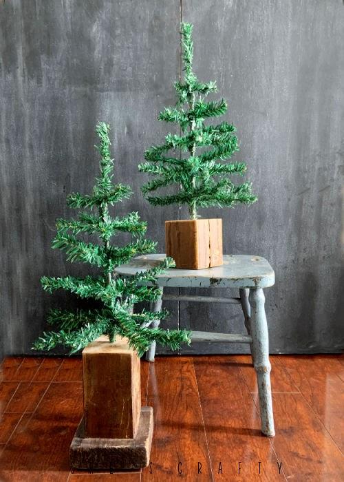 Rustic Christmas Tree - charlie brown christmas tree in wooden block