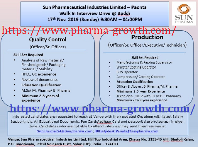 Sun Pharma - Walk-Ins for Multiple Departments -  Quality Control, Production on 17th Nov' 2019