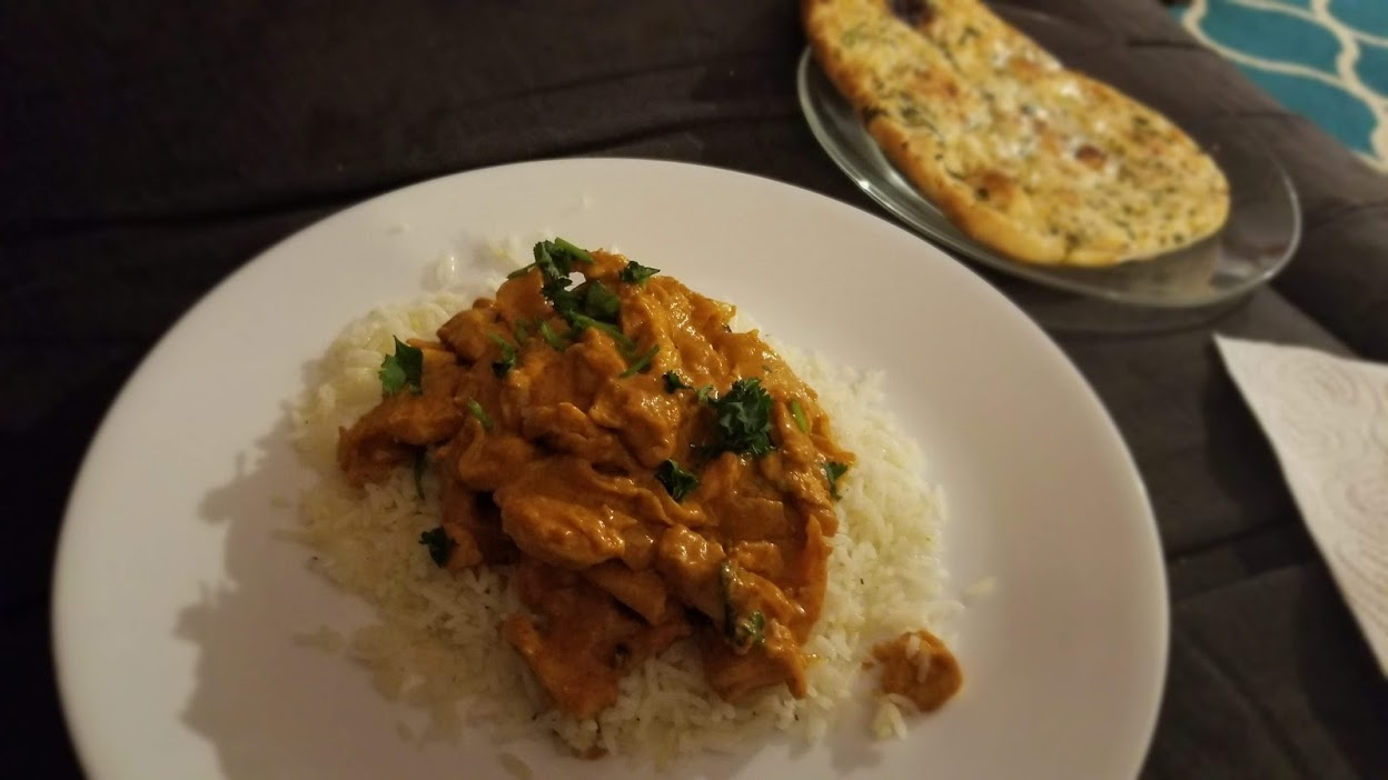 HelloFresh Chicken Tikka Masala, with Trader Joe's garlic naan