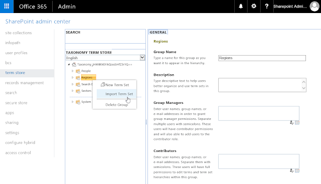 import term set sharepoint online