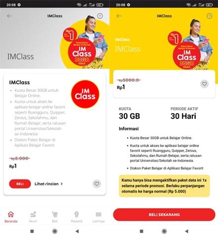 Indosat IMClass hanya Rp 1saja tetap dengan kuota 30GB