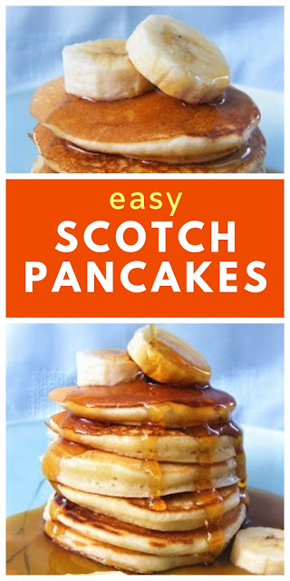 A simple recipe for traditional Scottish pancakes. They are called Scotch pancakes or drop scones and make a very tasty breakfast or dessert. #scotchpancakes #dropscones #Scottishpancakes #easypancakerecipe #easypancakes #pancakes #breakfast #brunch