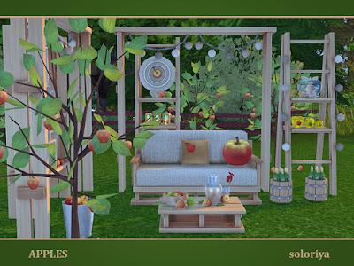 Apples Яблоки для The Sims 4 Все о яблоках, открытый набор. Включает в себя 12 предметов, имеет 3 цветовых поддонов. Предметы в наборе: -двойной диван - две подушки для сиденья - журнальный столик - бутылки в бочке - яблоки в ведре - две лестницы с функциональными полками - Декоративная большая рама - место хранения - яблоня - яблоки для яблони. Автор: soloriya