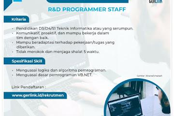 Lowongan Kerja R&D Programmer Staff Gerlink