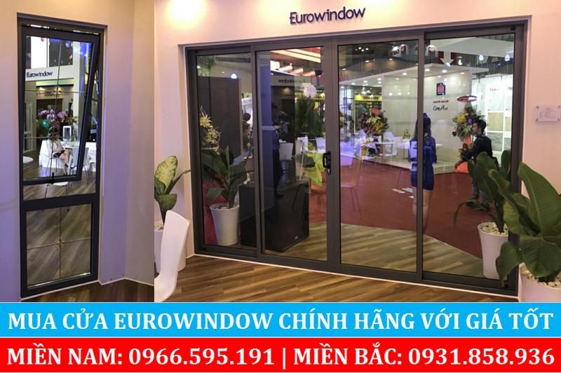 Một mẫu cửa đi trượt 4 cánh và cửa sổ hất sử dụng nhôm Eurowindow