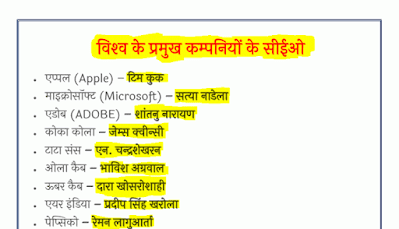 World Top Companies CEO in Hindi