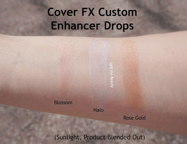 Cover FX Custom Enhancer Drops blossom halo rose gold highlighter review swatches