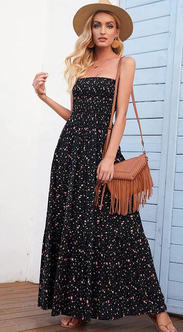 Cute Women's Black Strapless Maxi Dresses