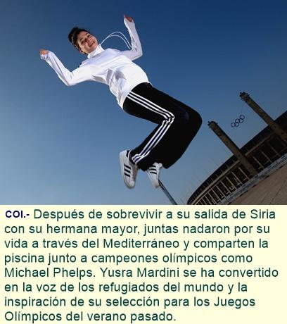 YUSRA MARDINI, nombrada EMBAJADORA de BUENA VOLUNTAD del EQUIPO OLÍMPICO de REFUGIADOS de ACNUR.